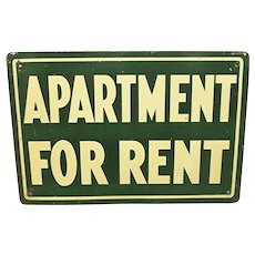Tin Sign Advertising Apartment for Rent