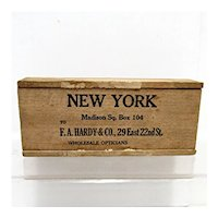 Wood Advertising Box F. A. Hardy New York Shipping Wood Box