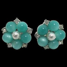 Earrings Brilliance Faux Pearl and Simulated Jade