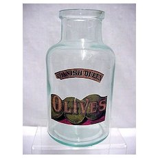 Advertising Old Olive Bottle Spanish Queen Brand From A General Store
