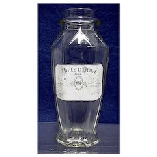 Advertising Olive Oil Clear Glass General Store Bottle