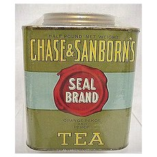 Tea Tin Advertising Chase and Sanborn's Seal Brand Black Tea