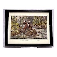 Framed Fishing Print Currier & Ives Brook Trout Print Outdoors Fly Fishing