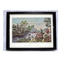 Currier & Ives the Trout Stream Print Framed Fishing Print Outdoors Fly Fishing