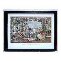Fishing Print Currier & Ives Print Titled Home From The Brook Framed Print Outdoors Fly Fishing