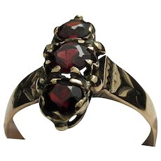 SOLD    Victorian Garnet and Gold Antique Ring Size 6 1/2