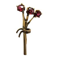 Antique Stick Pin Garnet Bouquet Set in Gold Stickpin