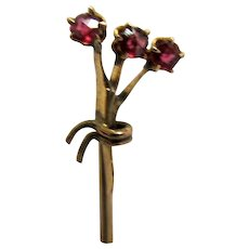 Antique Stick Pin Garnet Bouquet Set in Gold