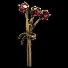 Antique Stick Pin Garnet Bouquet Set in Gold