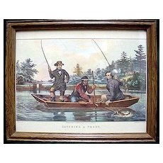 Framed Fly Fishing Print Currier & Ives Titled Catching A Trout Outdoors Fly Fishing