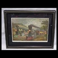 Framed Railroad Print the Lightening Express Trains by Currier and Ives