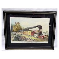 Framed Railroad Train Print The American Express Currier and Ives