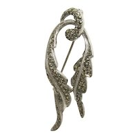 Antique Pin or Brooch Silver Marcasite