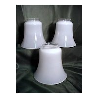 Three Antique Glass Shades for Drop Light Fixture