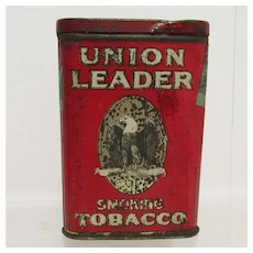 SOLD   Union Leader Pocket Advertising Tobacco Tin