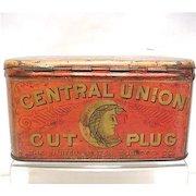 Central Union Cut Plug Advertising Tobacco Tin