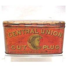 SOLD    See other Tobacco Tins for SALE  Central Union Cut Plug Advertising Tobacco Tin