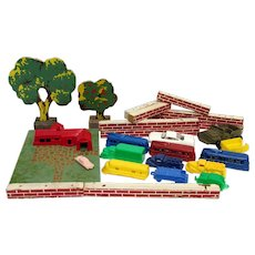 Doll, Village Train, Christmas Set Miniatures Plastic Trucks, Cable Cars, Wood Trees, Wood Brick Wall