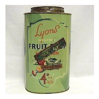 Lyons Fruit Drop Candy  Advertising Tin