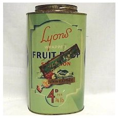 Lyons Fruit Drop Candy  Advertising Tin