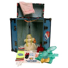 Metal Doll Trunk with Related Doll Items