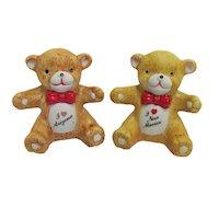 Souvenir Salt and Pepper Shakers Sitting Teddy Bears