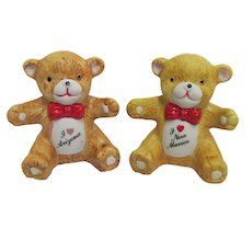 Souvenir Salt and Pepper Shakers Sitting Teddy Bears