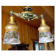 Victorian Two Drop Ceiling Light Fixture one of a pair