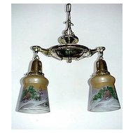 Antique Pendant Light with Two Hand Painted Glass Shades Ceiling Drop Light Fixture
