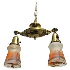 Victorian Two Drop Ceiling Light Fixture Hanging Lamp