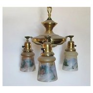 3 Drop Light Chandelier Or Hanging Light Fixture Matching Hand Painted Shades