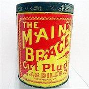 J. G. Dills Cylindrical Advertising Tobacco Tin