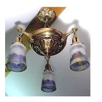 Antique Chandelier Or Three Drop Light Fixture with Original Hand Painted Shades