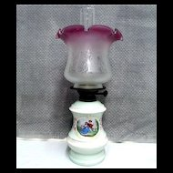 Porcelain Base Oil Lamp with Chimney and Shade Antique Table Lamp