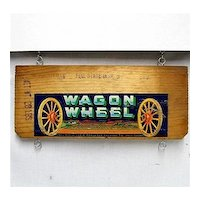 Wagon Wheel Brand Plums of California Wood Advertising Sign Crate Side Label
