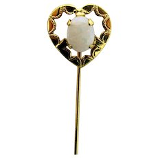 Stickpin Opal Set in Open Heart