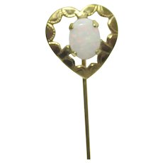 Stickpin Open Heart with Opal  Excellent Color Stick Pin