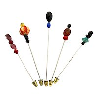 Stick Pin Five Different Glass Beaded Stickpins