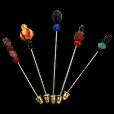 Stick Pin Five Different Glass Beaded Stickpins