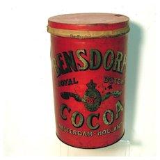 Bensdorp's Royal Dutch Cocoa Soda Fountain  Tin Canister