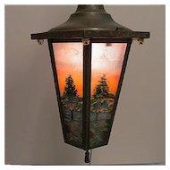 Ceiling Light Or Pendant Light Framed Six Panel Hand Painted Fixture