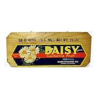 Daisy California Fruit Wood Advertising Sign