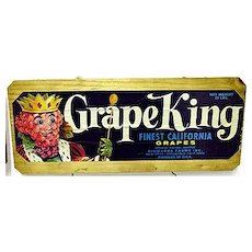 Grape King California Wood Crate Advertising Sign