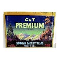 C & T Premium Pears of California Wood Crate Advertising Sign