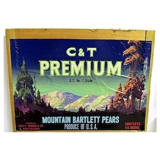 C & T Premium Pears of California Wood Crate Advertising Sign