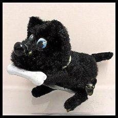 Key Wind Scottie  Dog with a Bone Tin Toy WORKING