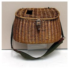Fishing Creel with Shoulder Strap Early French Weave