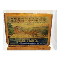 Wood Advertising Box For Stage Coach Orchards  Medford Oregon Shipping Crate with Paper Label