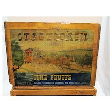 Wood Pear Crate with Paper Label Wood Advertising Box