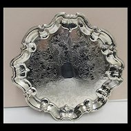 "14"" Diameter Silver Plate  Serving Tray Elevated on Four Feet"